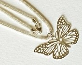 Silver Butterfly Necklace 18 inches