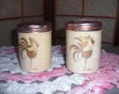 Mid Century Salt and Pepper Shaker Roosters on Creme and Pink