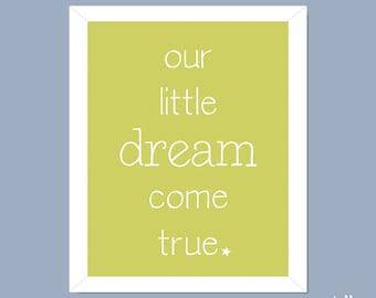 Nursery Wall Art / Baby Print / Wall Art / New Baby Print / Baby Art - Dream Come True