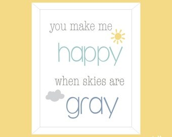 Nursery Wall Art / Baby Print / Wall Art / New Baby Print / Baby Art - You Make Me Happy
