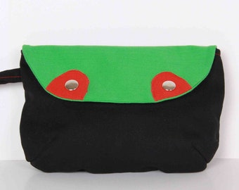 Clutch , Pouch ,Dark Gray and Green canvas with red lining