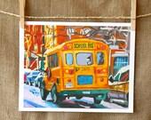 School Bus New York Transportation Art NYC Art Wall Decor Yellow School Bus Fine Art Print 8x10, Painting by Gwen Meyerson