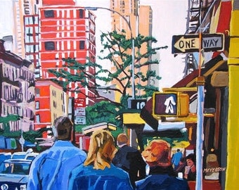 New Yorkers Painting NYC  Wall Decor People Walking, Manhattan Spring Art Print 8x10, New York Cityscape buildings people by Gwen Meyerson