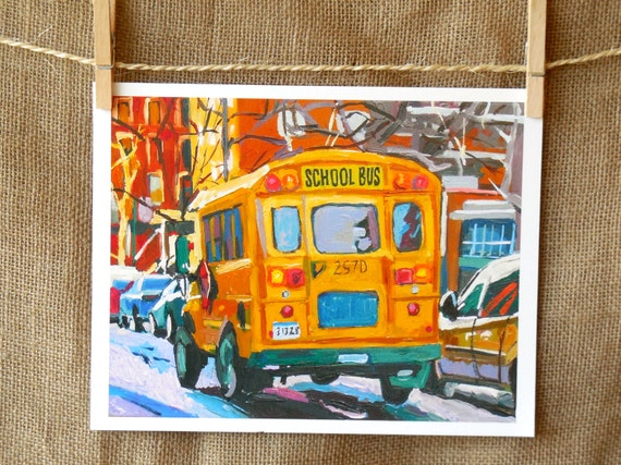 School Bus New York Transportation Art NYC Art Wall Decor Yellow School Bus Fine Art Print 8x10, Painting by Gwen Meyerson