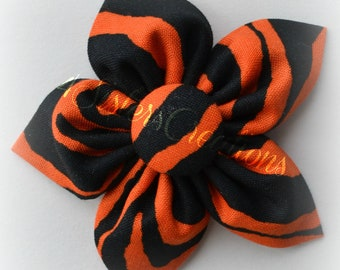 Orange and Black Zebra  Print Fabric Flower Bow Halloween, Fall, Adult, Teen, Children, Baby