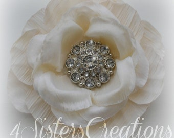 Antique White Artificial Flower with Clear  Acrylic Rhinestone Button Center