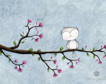 """wall art - bird - grey - gray - blossom - garden - illustration - """"BLOSSOM!"""""""