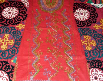 Vintage 60s Never Worn Moroccan Chain Stitch Embroidered Fitted Kaftan Dress Red with Green Blue and Gold Vine