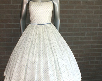 Gorgeous Vintage 50's Creamy Ivory Bombshell Pin Up Circle Party Dress with Spaghetti Straps