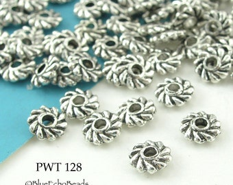 5mm Small Pewter Spacer Beads Antique Silver Swirl (PWT 128) 75 pcs BlueEchoBeads