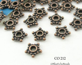 6mm Small Copper Star Spacer Beads  Antique Copper Beads (CO 212) 50 pcs BlueEchoBeads