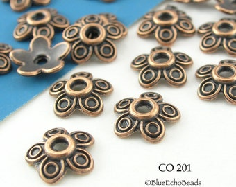 10mm Antiqued Copper Bead Cap, Five Petal (CO 201) 20 pcs BlueEchoBeads