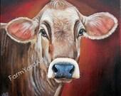 Original Fine Art Brown Swiss cow  painting by Laura Carey