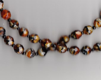 Antique Necklace Carved Tiger Eye Beads gemstone strand vintage jewelry