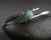 Sterling silver hammered and riveted bypass bangle bracelet with pinned aventurine