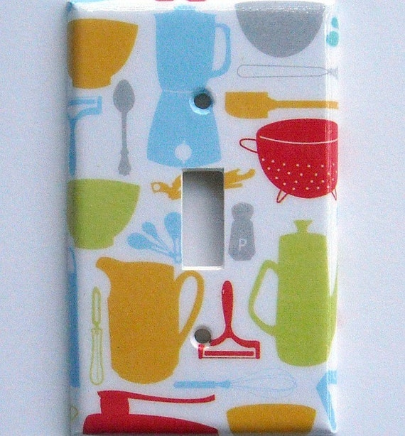 Retro Appliances on an ECONOMY single toggle light switch plate cover with MATCHING SCREWS (ready to ship/ P-p)
