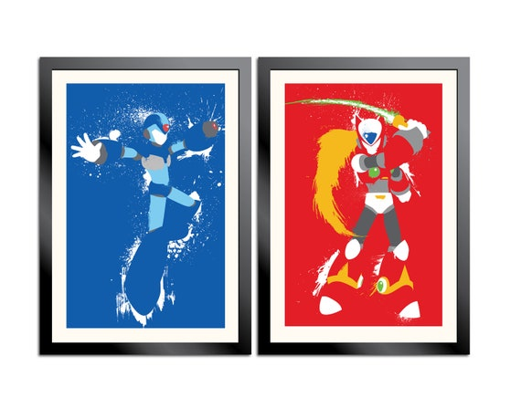 Mega Man X and Zero Splattery Posters
