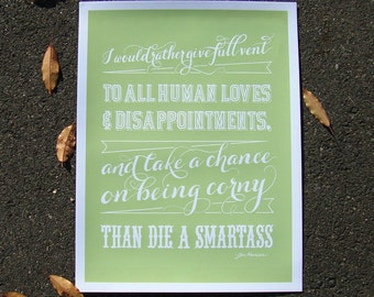 Hand lettered quote print