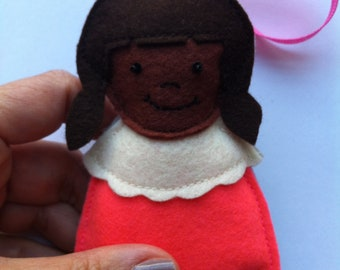 Little People Ornament African American Girl in Hot Pink