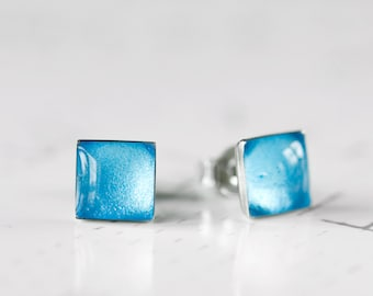Blue Frost Square Resin Stud Earrings - Pale Arctic Cyan Blue Shimmer Metallic Textured Post Earrings
