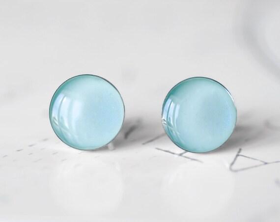 Duck Egg Blue Resin Stud Earrings - Pale Pastel Blue Shimmer Cobalt Sparkle Post Earrings