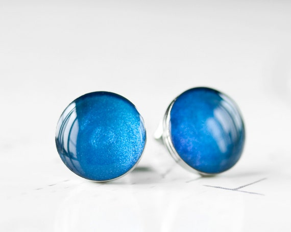 London Blue Resin Stud Earrings - Bright Sapphire Cobalt Blue Metallic Shimmer Post Earrings