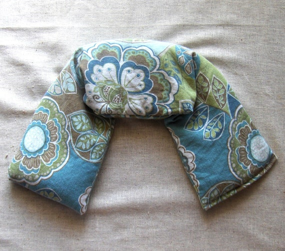 Lavender Flax Seed Neck Wrap - Blue and Green Floral - Flaxseed Neck Pillow