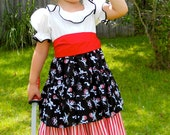 Handmade Pirate Girl's Costume / Dress Up / Size 2 thru 8 / Halloween / Pageant / Birthday