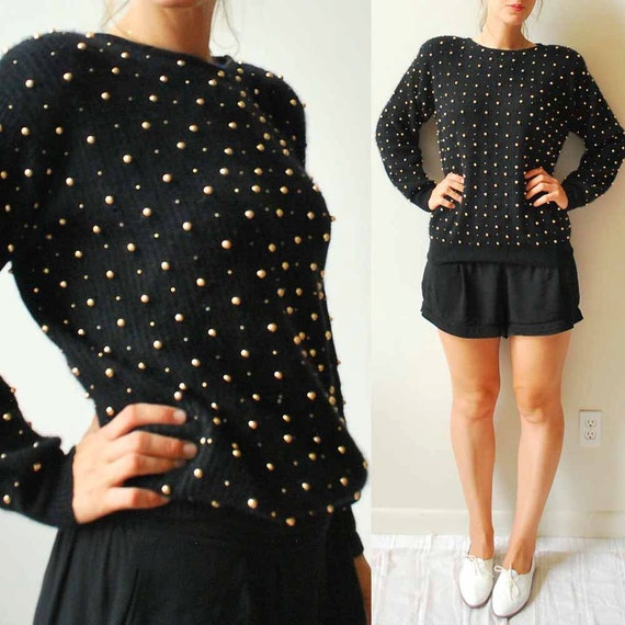 Gold Studded Lambs Wool Sweater, Black with Gold polk-a-dots