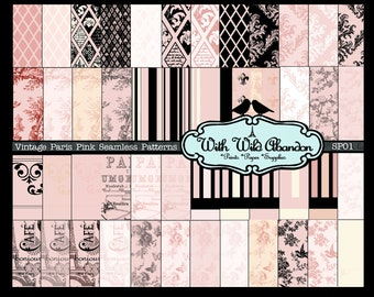 Paris Pink and Cream Seamless Patterns Set 48 Total - Toile, Damask, Floral and Birds