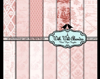 Pink Light Vintage Paris Digital Scrapbook Paper 14 Sheets  - Toile, Damask, Argyle, Floral and Birds 12x12
