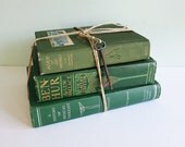 Trio of Olive Green Vintage Books Tied with Hemp Twine and a Rusty Old Skeleton Key