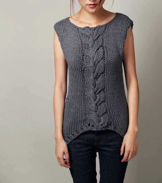 Hand knitted sweater Charcoal Sleeveless Tunic sweater cable