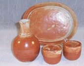 Ceramic Sake Set - Bottle and 2 Cups and Serving Tray - Handmade Wheel thrown  Stoneware Ceramics   Pottery