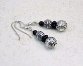Silver Bali Style Scroll Jet Bead Drop Dangle Earrings - TinksTreasure