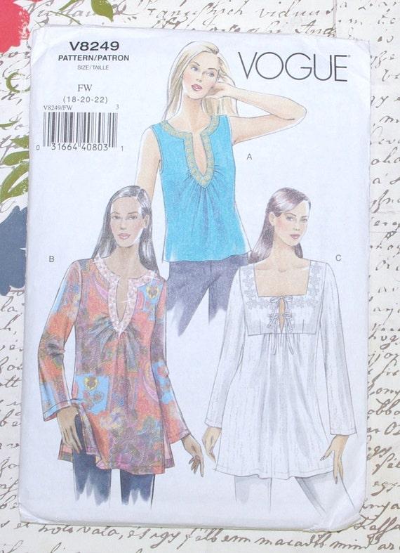 Vogue Pattern V8249 Tops Blouse Sewing Pattern Misses Size 18 - 20 - 22 Plus Size UNCUT