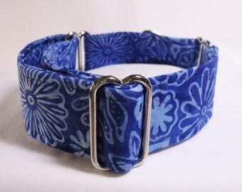 "1.5"" Royal Blue and Light Blue Cotton Batik Greyhound Martingale Collar"