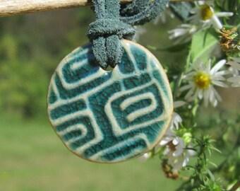 Green Ceramic Pendant Necklace