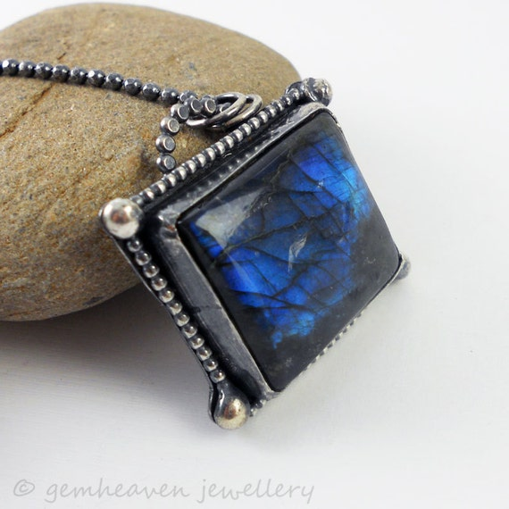 Sterling silver and Labradorite necklace with Hallmark - Through the Looking Glass -