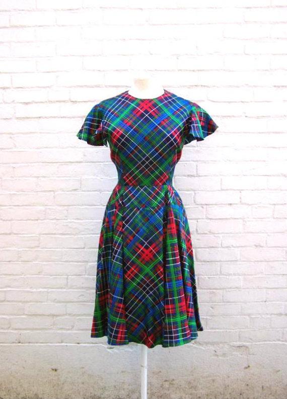 1950s Rockabilly Blue Green and Red Plaid Flutter Sleeve Dress