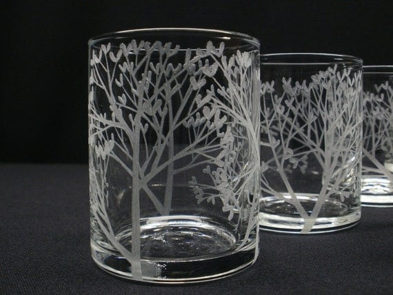 One Hand Engraved Glass Candle Holder . Tree of Love