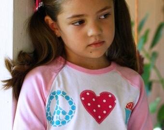 Peace LOVE and Cupcakes Toddler GIRLS Raglan Tee Shirt  12 Months to 6