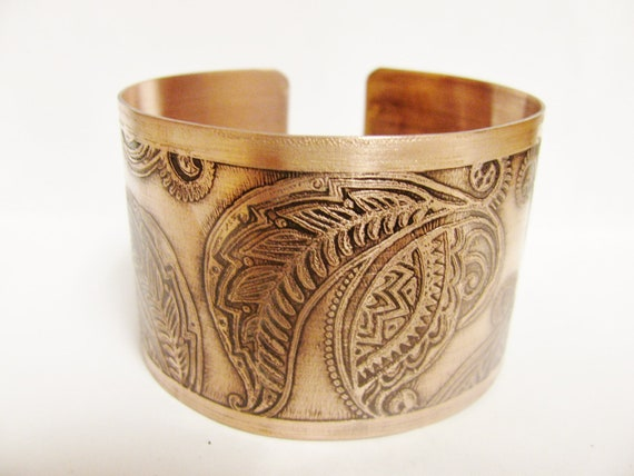 Paisley  Etched Copper Cuff Bracelet