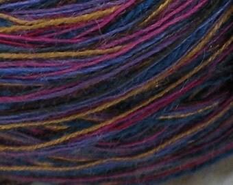 Yarn DK purple blue gold pink magenta 100 yards Italian Vineyard wool blend yarn by dj runnels, Life's an Expedition knitting sportweight