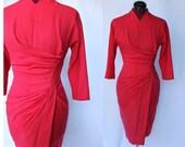 Dorothy O'Hara Designer 50s wiggle coral red sarong style ruching dress