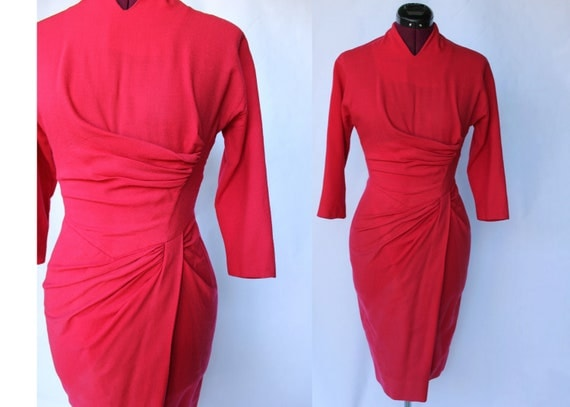 Dorothy O'Hara Designer 50s wiggle coral red sarong style ruching dress