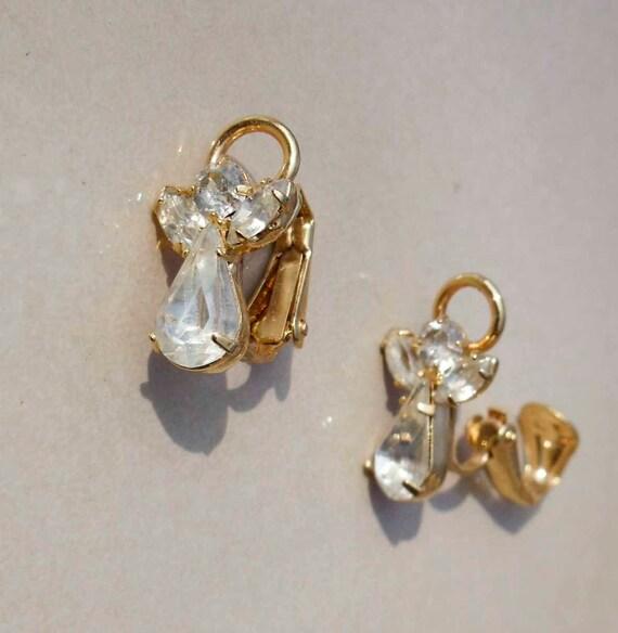 Vintage angel rhinestone earrings clip on