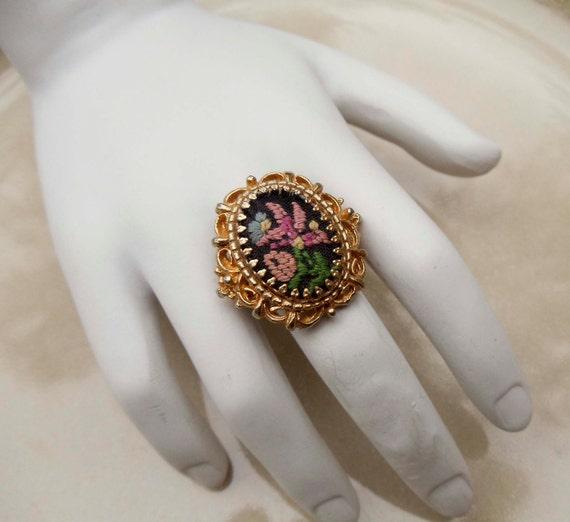 Vintage embroidered flower ring adjustable band