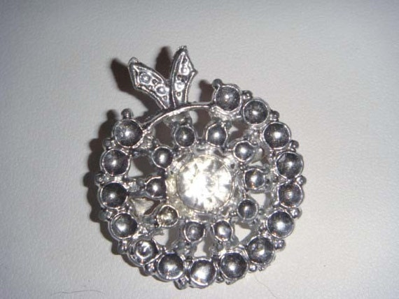 vintage silver and faux diamond brooch