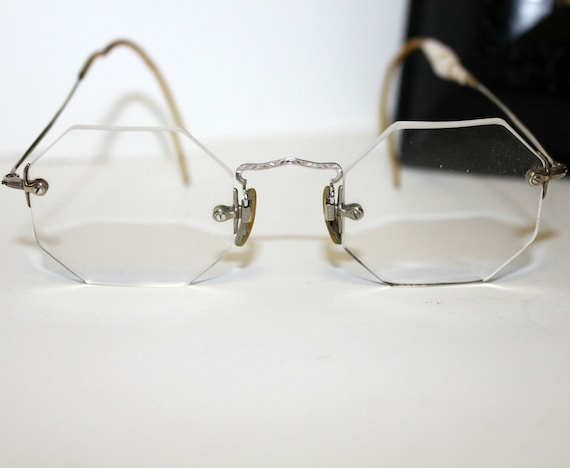 Rimless Glasses Plugs : Vintage Rimless Eyeglasses Octagon Silver Tone Small Size